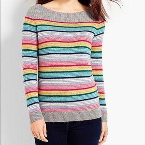 Talbots Grey Rainbow Striped Boatneck Sweater